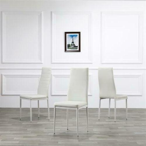 Set Chairs Frame Back Armless White New