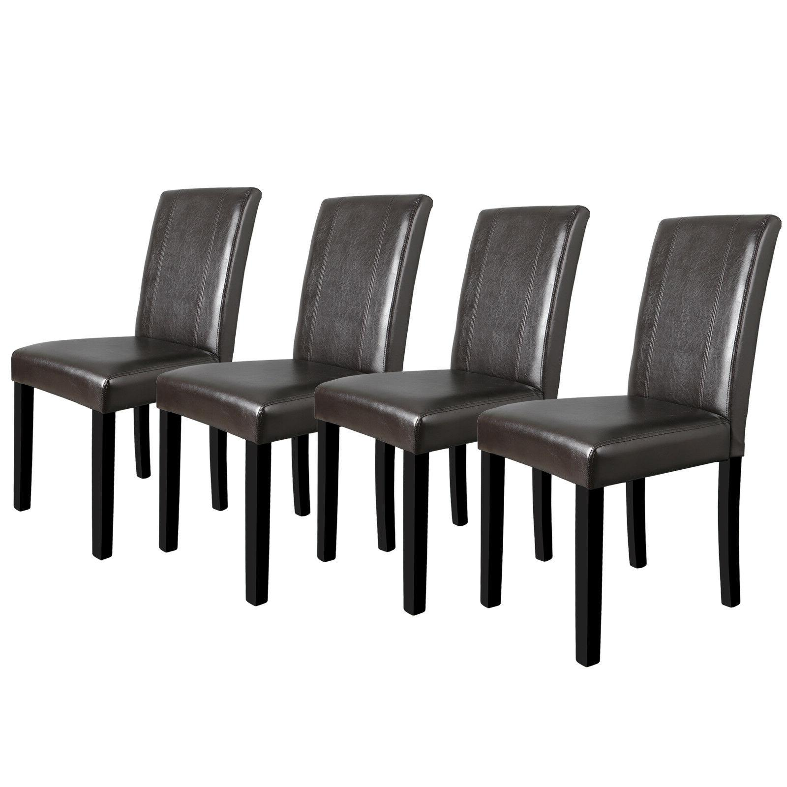 set of 4 dining parson room brown