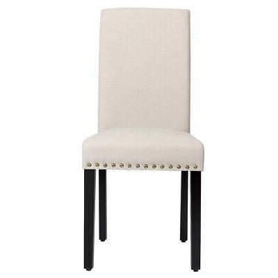Set of Dining Chairs w/ Nailhead Trim and Legs Beige