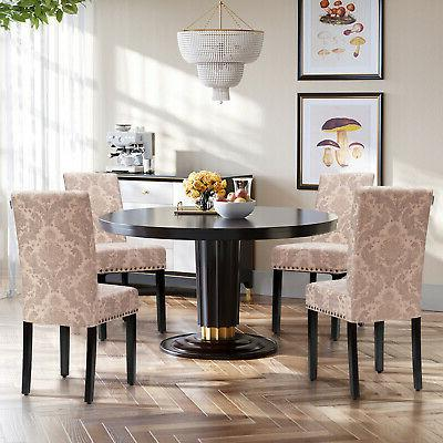 Costway Set of 4 Fabric Dining Chairs Upholstered Nailhead T