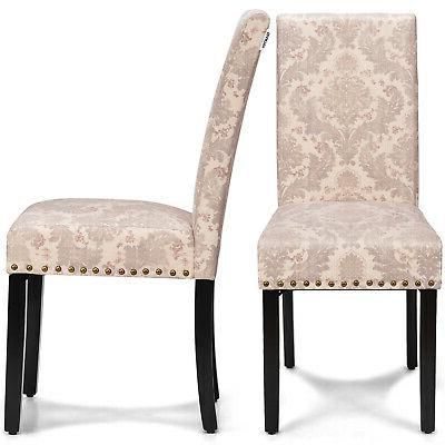 Costway Set of 2 Fabric Dining Chairs Upholstered Nailhead T