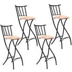 "Set of 4 Folding Bar Stools 28"" Counter Height Bistro Dining"