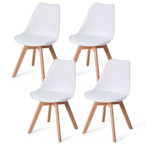 Set Of 4 Mid Century Modern Style Dining Side Chair Upholste