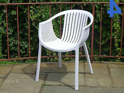 Set of 4 Stylish White Plastic Shell Dining Armchairs