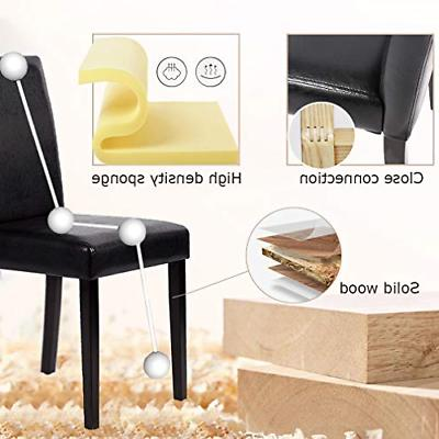 FDW Set 4 Urban Style Leather Chairs with Wood Legs Chair