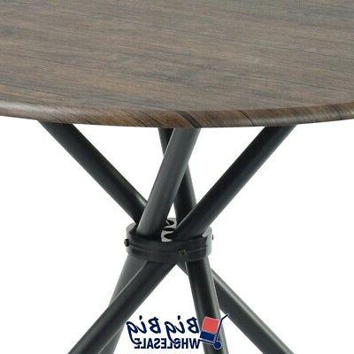 Set of 5 Round Dining Table 4 Folding Chairs Life Wooden