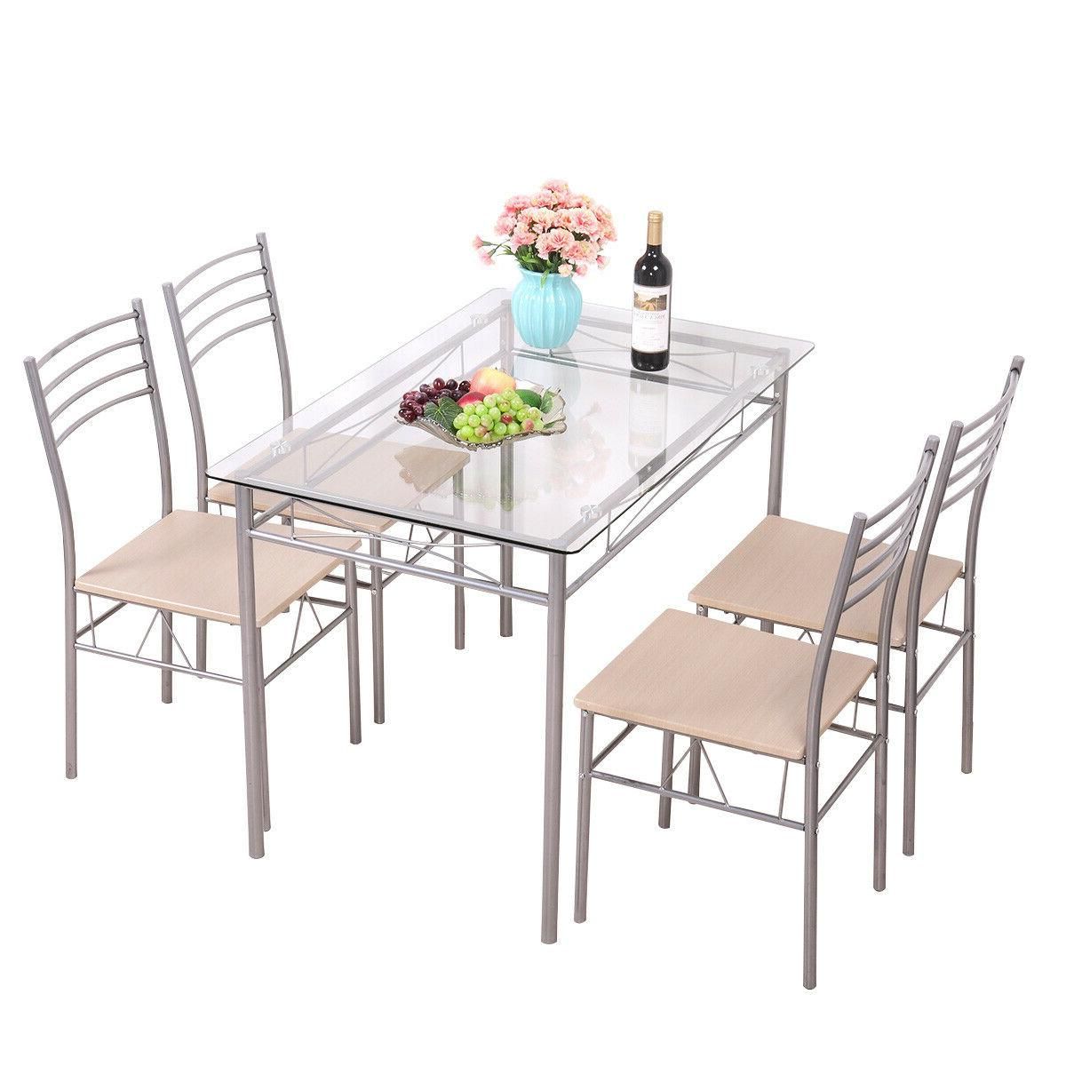 Silver Piece Dining Set 4 Chairs Top Kitchen