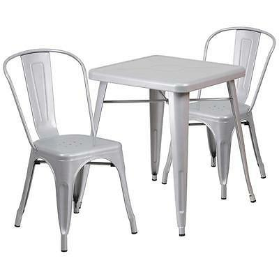 Flash Furniture Silver Metal Indoor-Outdoor Table Set with 2