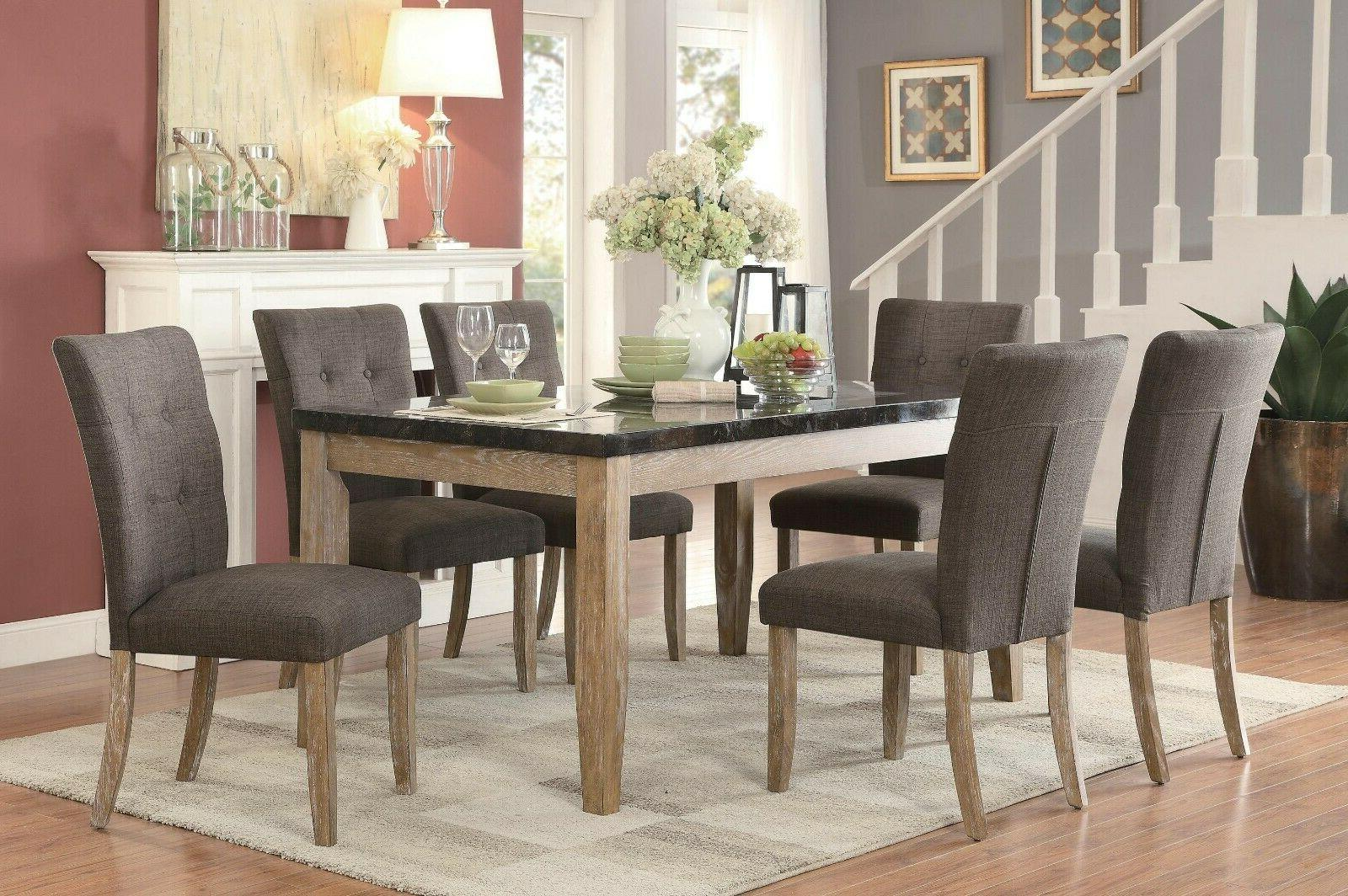 SLEEK DINING TABLE W/ FAUX BLUE STONE MARBLE TOP DINING CHAI