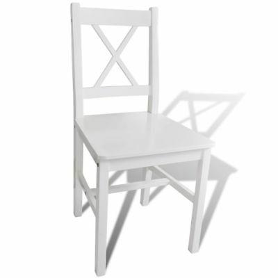 vidaXL Solid Dining Chairs Room Seats White pcs
