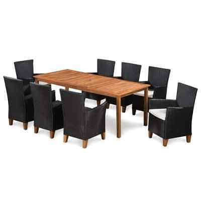 solid wooden outdoor dining set poly rattan