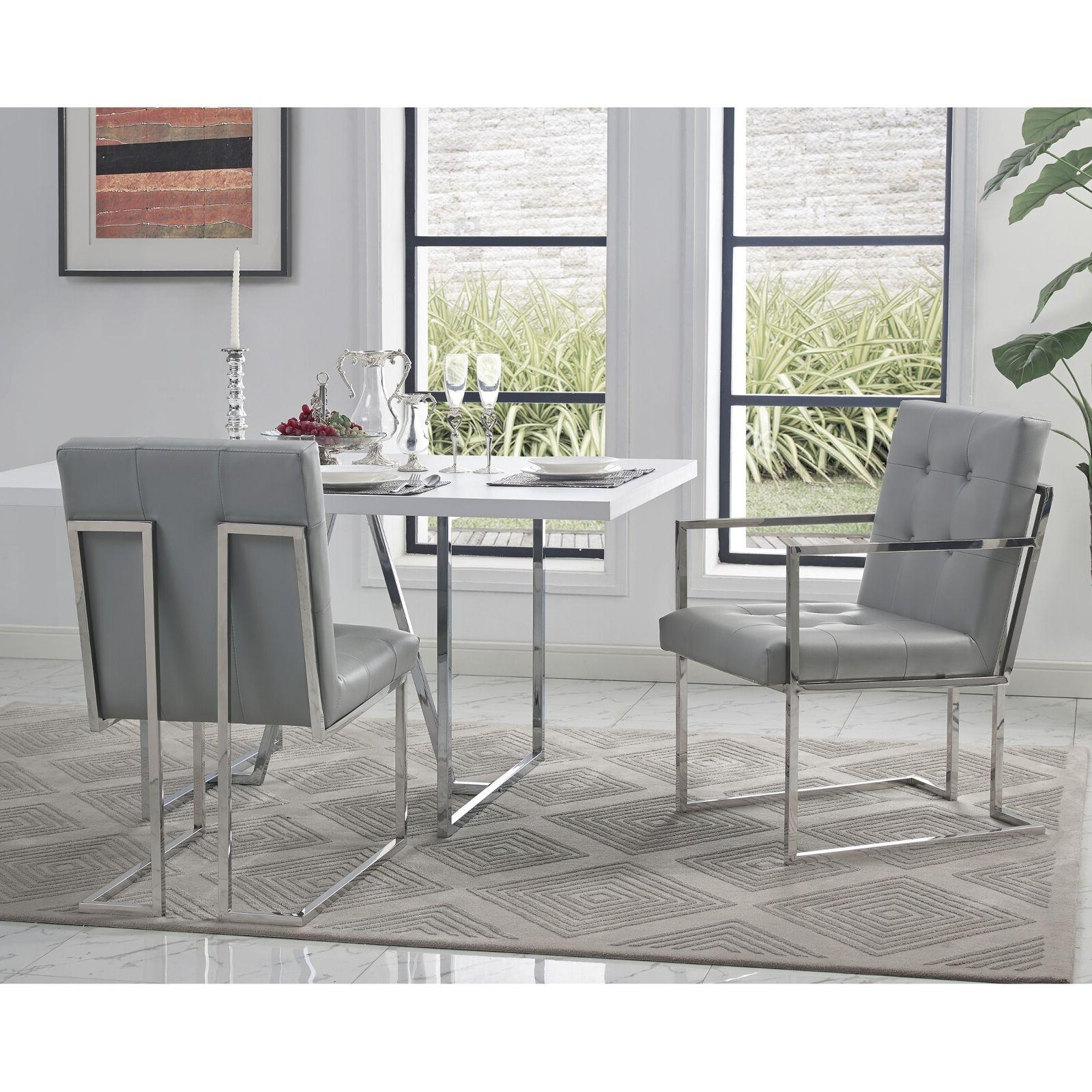 Square Arm Dining Set 2 Leather Velvet Fabric