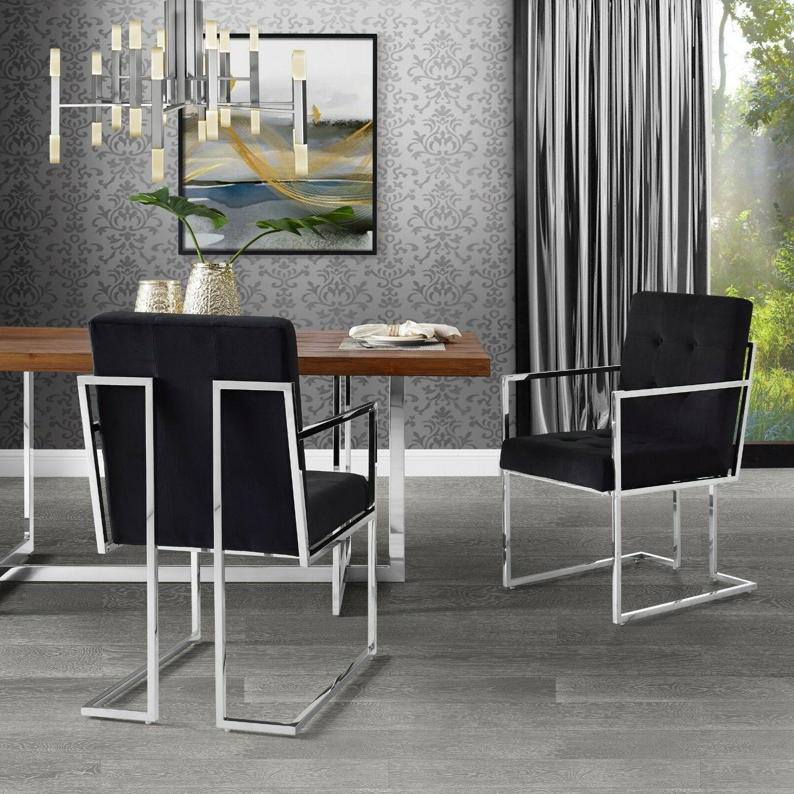 Square Dining Chair Set of 2 PU Leather