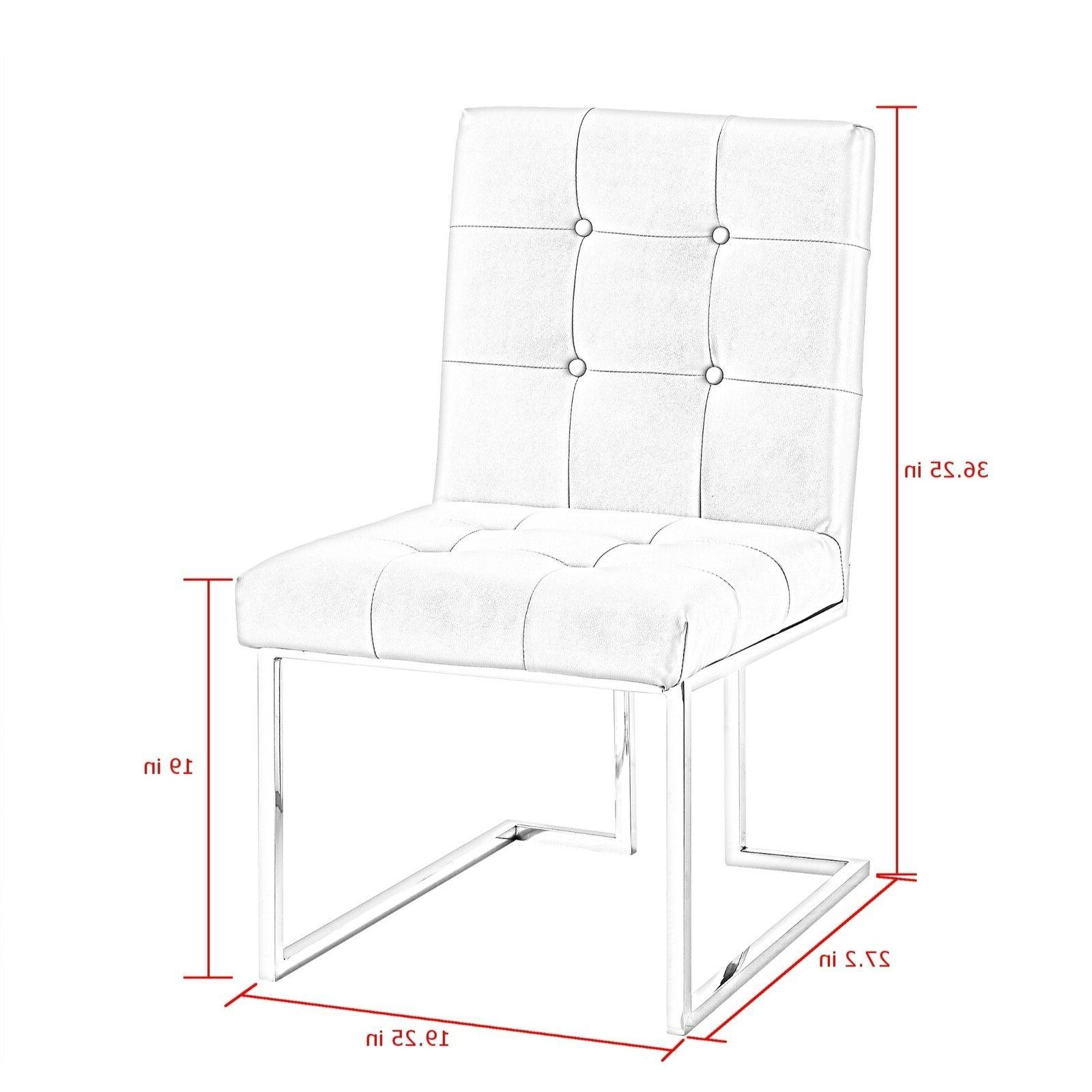 Square Dining Chair 2 PU Leather Velvet Fabric