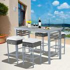 Outsunny Steel 5 Piece Patio Rattan Wicker Dining Table Chai