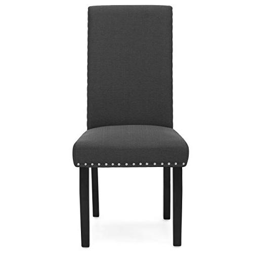 Best Choice Products Set of 2 Studded Parsons Chairs Gray