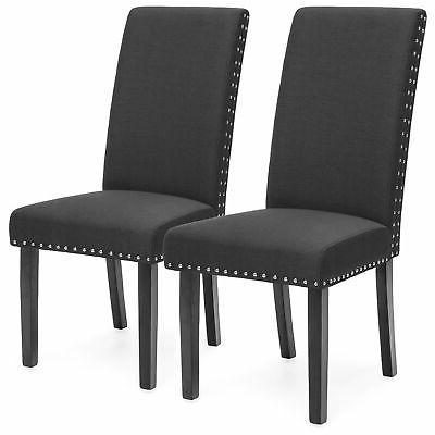 studded leather parsons dining chairs