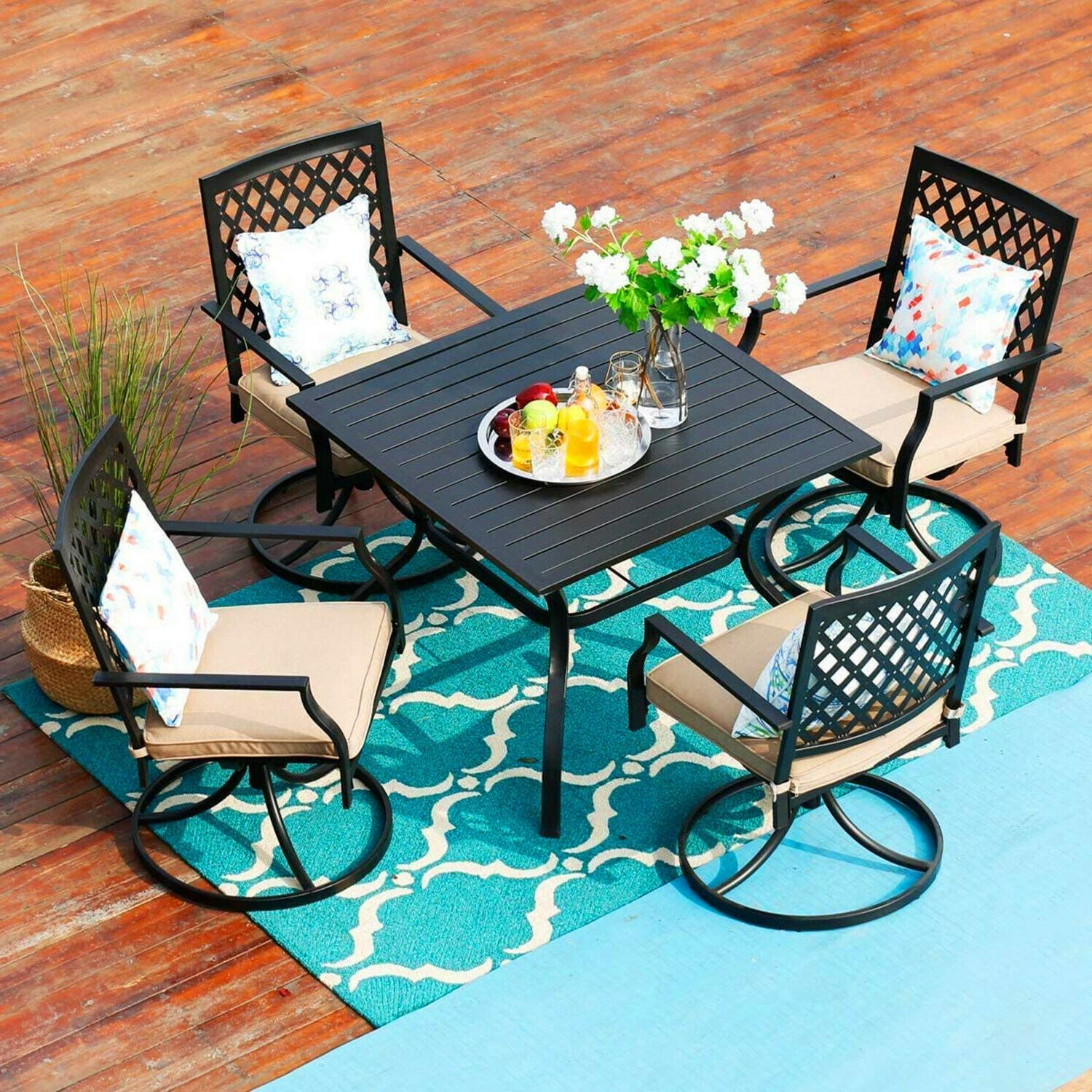 Metal Chair of 2 Swivel Chairs Outdoor