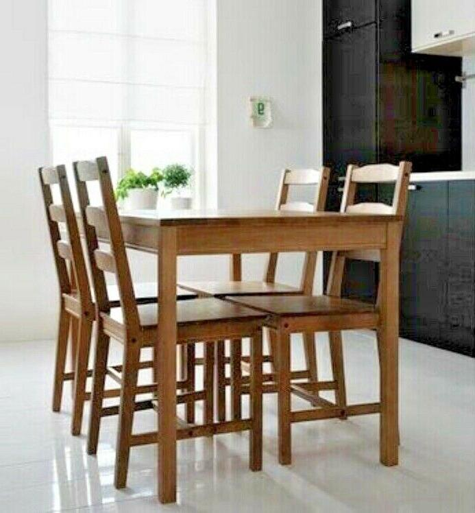 IKEA Table and 4 Chairs Set Solid Pine Wood Dining Kitchen,