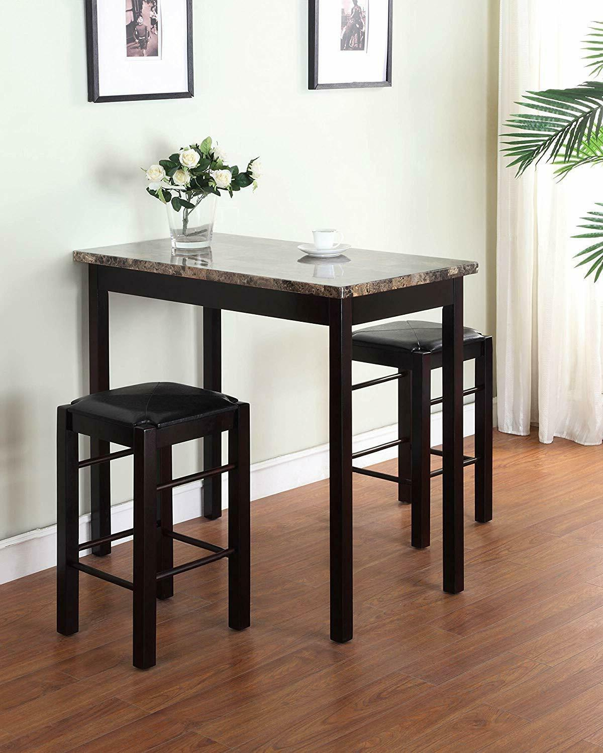 Pub Table Set 3 Piece Small Kitchen Chairs 2 High Top Stools