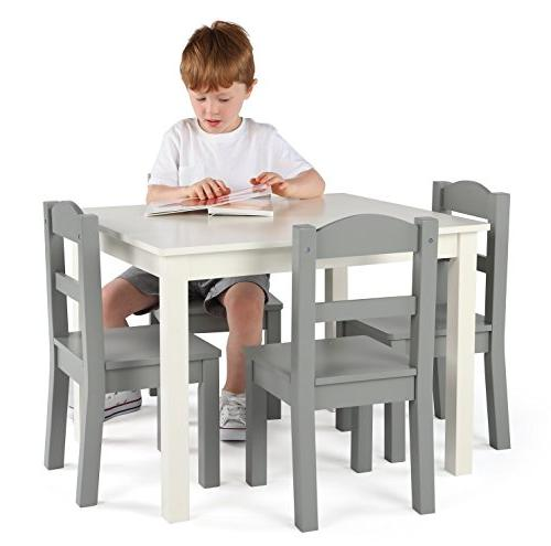 Tot Tutors Collection Wood & 4 Set, White/Grey
