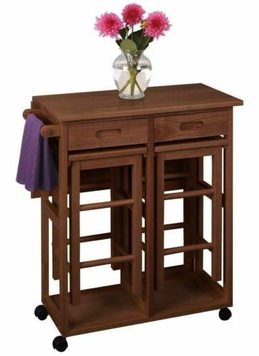 Teak Brown Wooden Kitchen Breakfast Cart Set Dining Table St