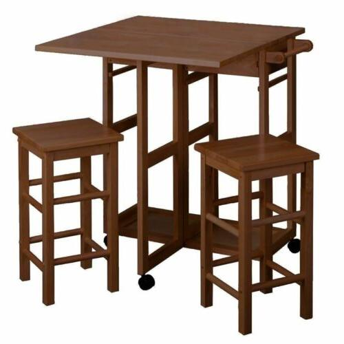 teak wooden kitchen breakfast cart set dining