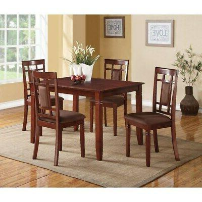 Transitional Set Grid Back Chairs, Brown 5-Piece