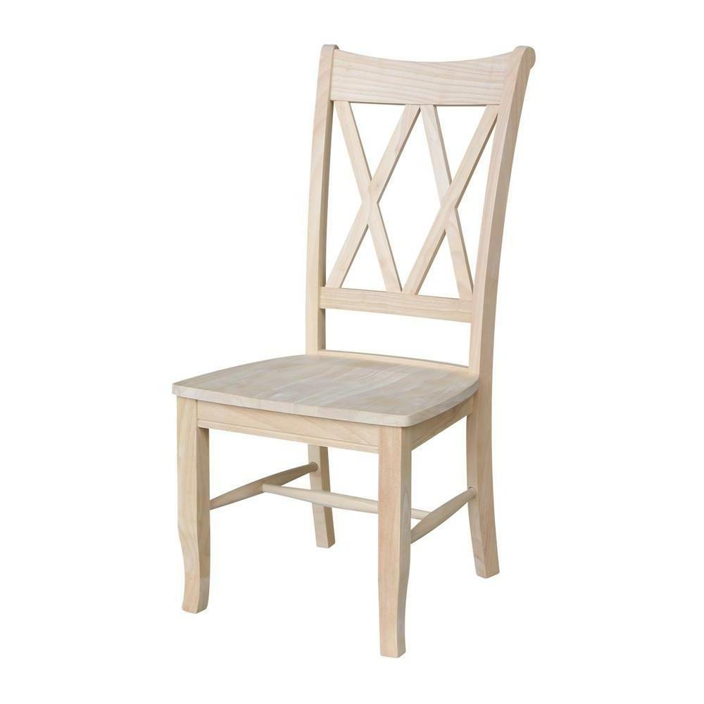 unfinished wood double x back dining chair