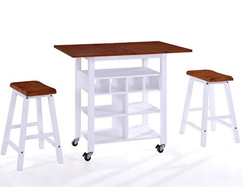 Harper&Bright Designs Series Dining with Storage Shelves, Table and Locking Castors