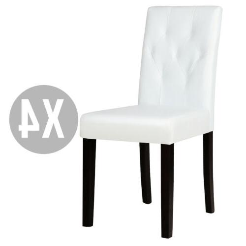 Set of 4 Ivory White Leather Dining Chairs Kitchen Dinette R