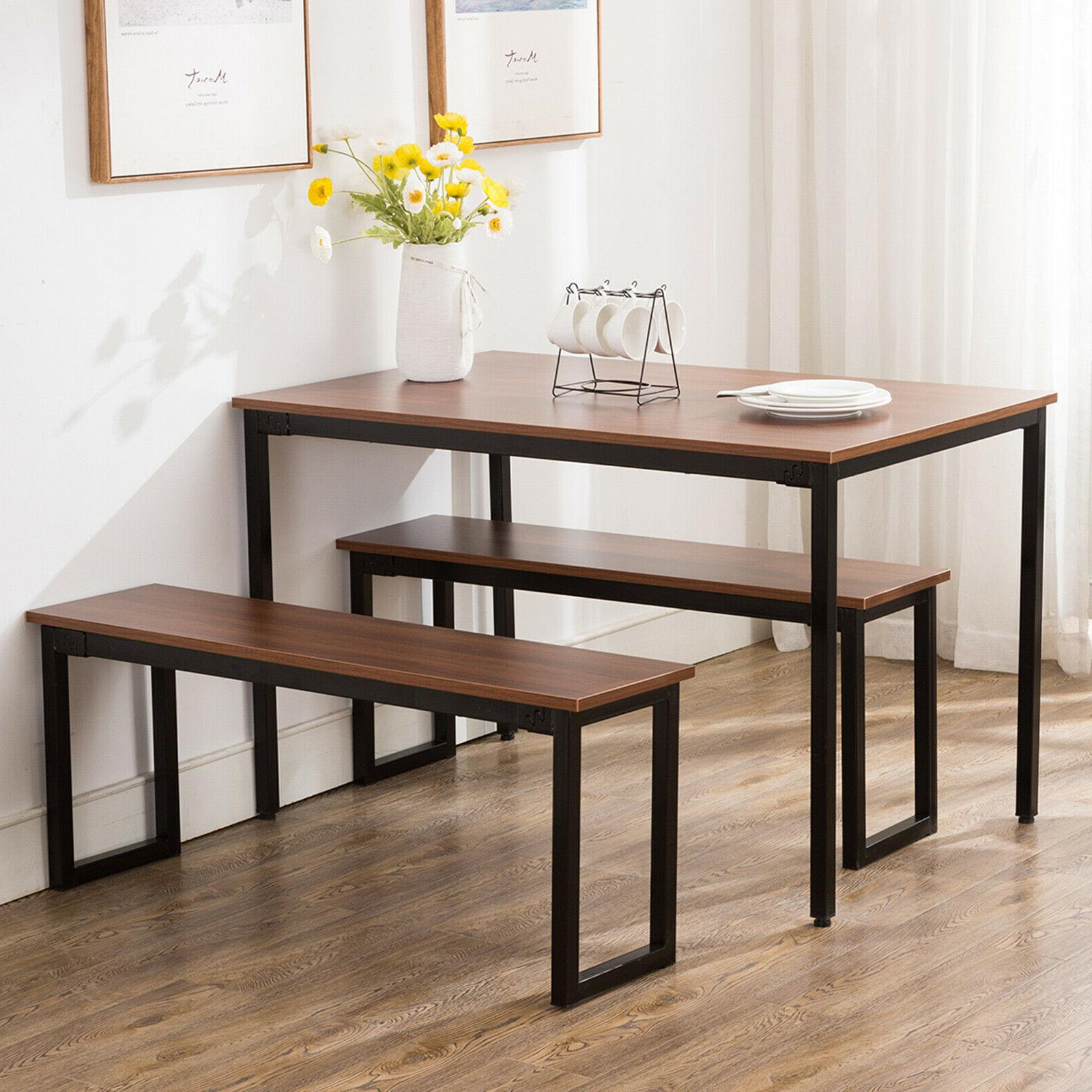 3-Piece Wood Dining Table Set With