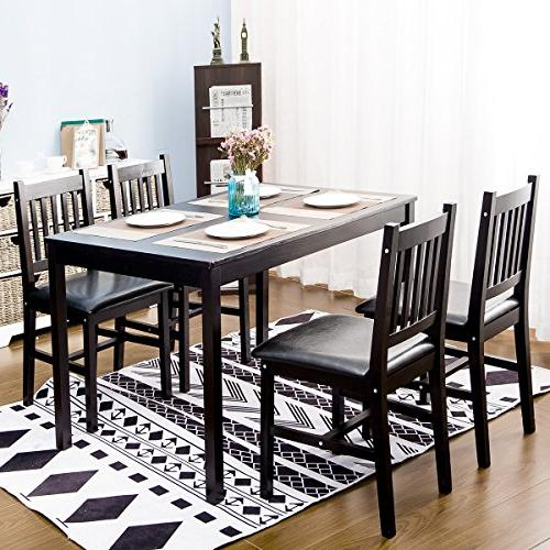 wood dining table set 4