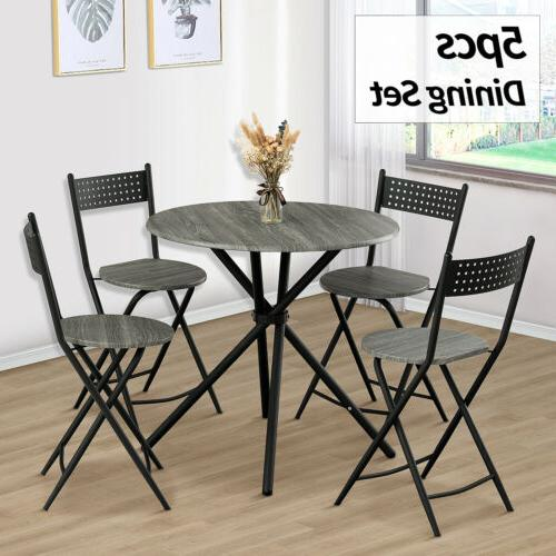 5 Piece Metal Dining Table Set w/ 4 Folding Chairs Wood Top