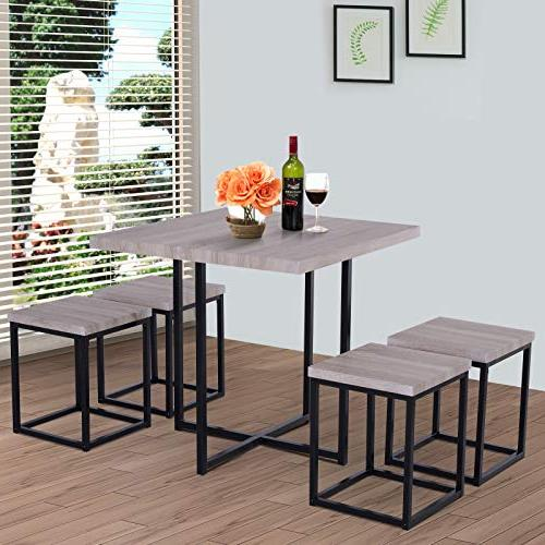 HOMCOM 5 Steel Saving Dining Room Stools