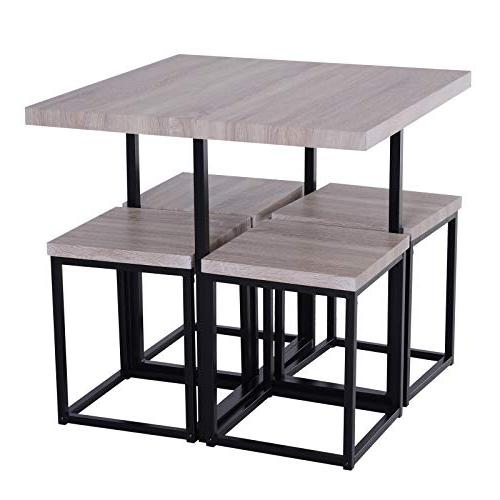 HOMCOM 5 Wood Steel Space Room Stools