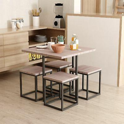 wood steel space saving dining