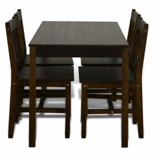Wooden Dining with Dining Room Brown