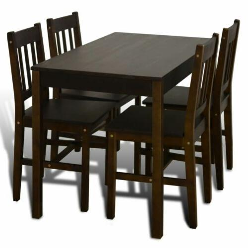 Wooden Table Set with 4 Chairs Kitchen Dining Home Brown
