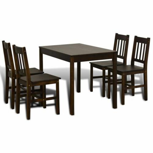 Wooden Table with Dining Home Brown