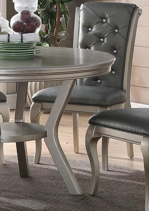 ZEYNA 5PC PLATINUM SILVER WOOD ROOM CHAIRS SET