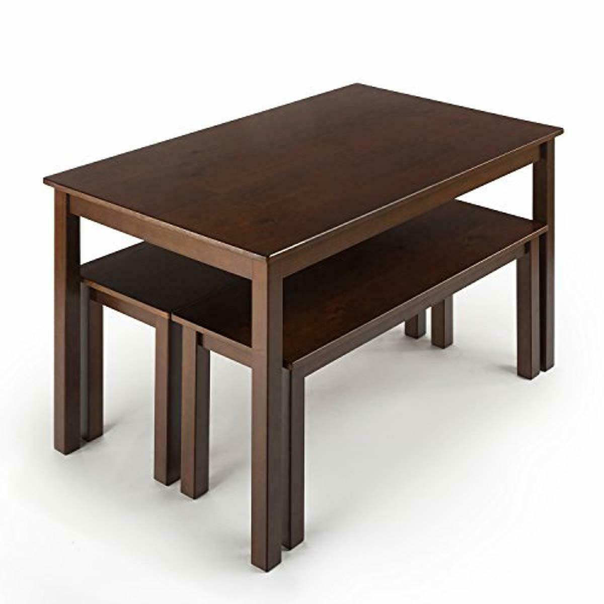 Dining Table with Two Benches Set