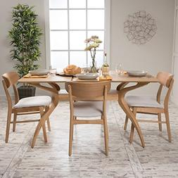 Leona Mid Century Natural Oak Finish 5 Piece Dining Set