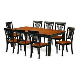 East West Furniture LGPL9-BCH-W 9 PC Table & Chair Set with