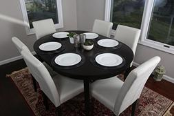 Light Beige Linen 7pc Oval Solid Top Dining Table Contempora