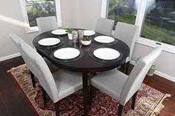 Light Grey Linen 7pc Oval Solid Top Dining Table Contemporar