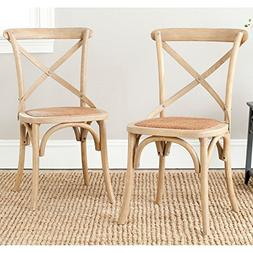 Safavieh Logan X-Back Dining Side Chairs - Natural Oak - Set