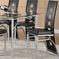 Coaster Los Feliz Metal Dining Chair with Black Vinyl in Mat