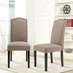 LSSBOUGHT Set of 2 Luxurious Fabric Dining Chairs with Coppe