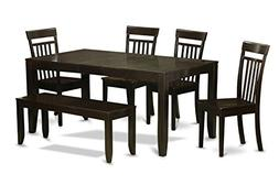 East West Furniture LYCA6-CAP-W 6-Piece Dining Room Table wi
